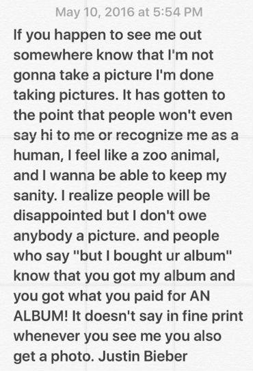 Comunicado de Justin Bieber