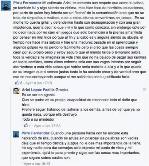 Mensaje de El Pirru contra Talina Fernández