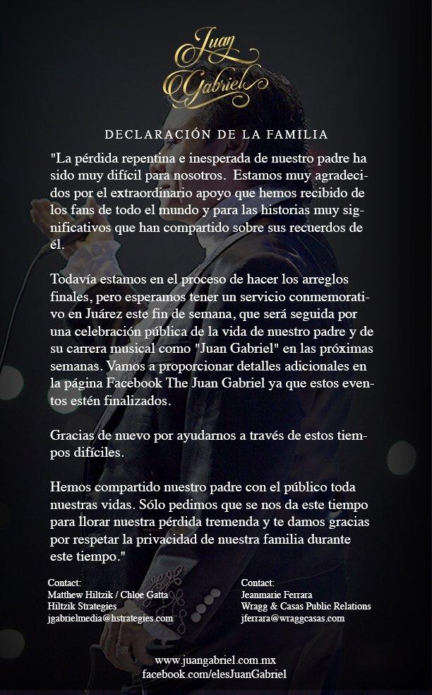 Comunicado familiares de Juan Gabriel