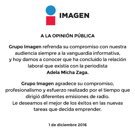 Comunicado Grupo Imagen