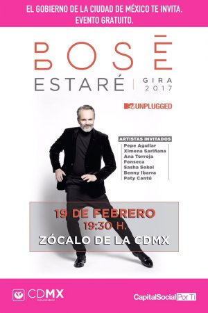 Miguel Bosé en Zócalo de la Ciudad de México 19 de febrero