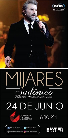 Mijares en Puebla con concierto sinfónico este 24 de junio